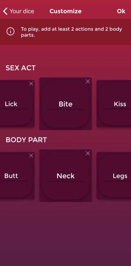 customizable dice sex game
