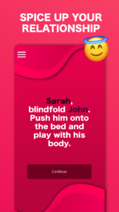 Screenshot of naughty game for couples app with example of intimate dare